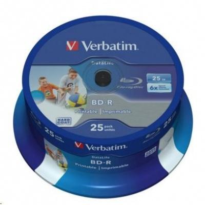 VERBATIM BD-R SL Datalife (25-pack)Blu-Ray/Spindle/6x/25GB Wide Printable