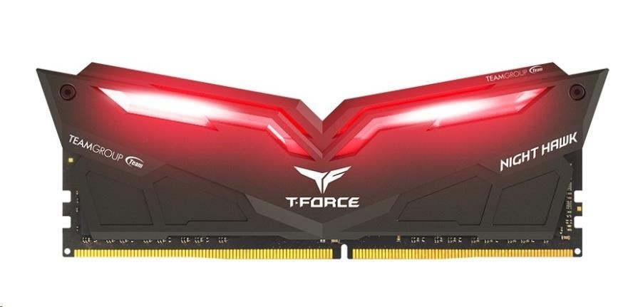 DIMM DDR4 16GB 2666MHz, CL15, (KIT 2x8GB), TEAM T-FORCE Night Hawk LED (Red)