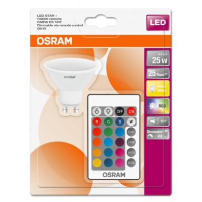 OSRAM LED STAR+ PAR16 RGBW 120° 4,5W 827 GU10 250lm 2700K (CRI 80) 25000h A DIMmable Rem Ctrl (Krabička 1ks)