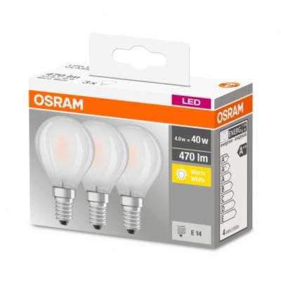 OSRAM LED BASE CL P GL Fros. 4W 827 E14 470lm 2700K (CRI 80) 10000h A++ (Krabička 3ks)