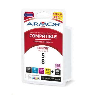BAZAR ARMOR cartridge pro CANON iP 4200/4300, MP500/600 2xB+C+M+Y multipack, 2x29/3x16ml (PGi5/CLi8CMY) (poškozený obal)