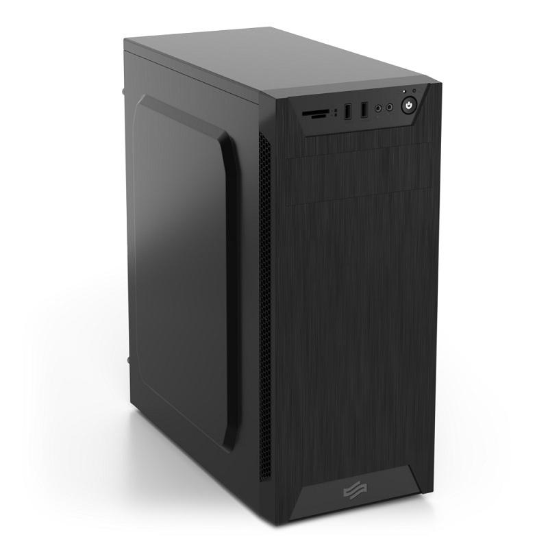 SilentiumPC skříň MidT Armis AR1 Pure Black / čtečka SD / 2x USB 3.0 / 1x 80mm fan / černá