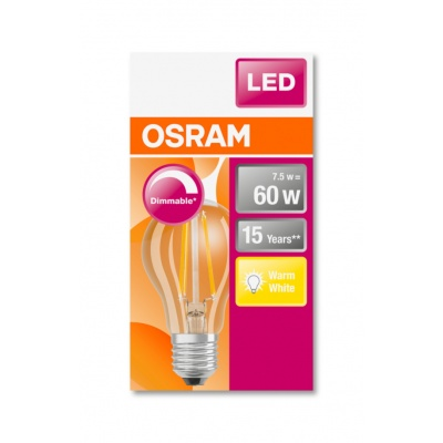 OSRAM LED SUPERSTAR CL A Filament 7W 827 E27 806lm 2700K (CRI 80) 15000h A+ DIM (Krabička 1ks)