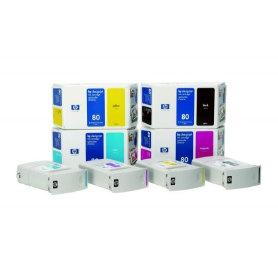 HP 80 Yellow DJ Ink Cart, 175 ml, C4873A