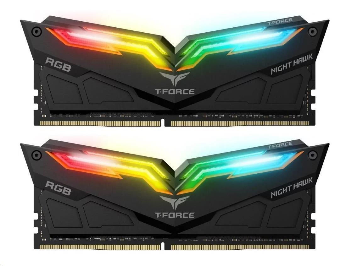 DIMM DDR4 16GB 3000MHz, CL16, (KIT 2x8GB), TEAM T-FORCE Night Hawk RGB (Black)