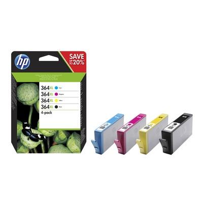 HP 364XL CMYK Ink Cartridge Combo 4-Pack, N9J74AE