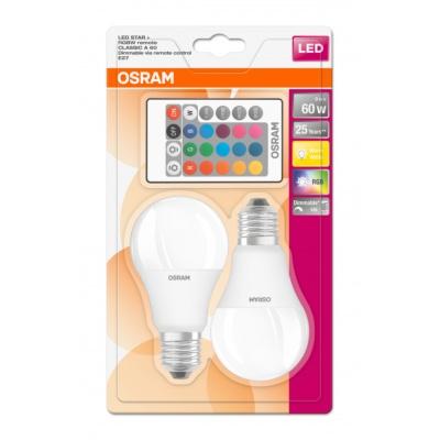 OSRAM LED STAR+ CL A RGBW FR 9W 827 E27 806lm 2700K (CRI 80) 25000h A+ DIMmable Rem Ctrl (Krabička 2ks)