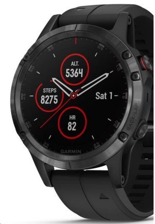 Garmin GPS sportovní hodinky fenix5 Plus Sapphire Black, černý řemínek