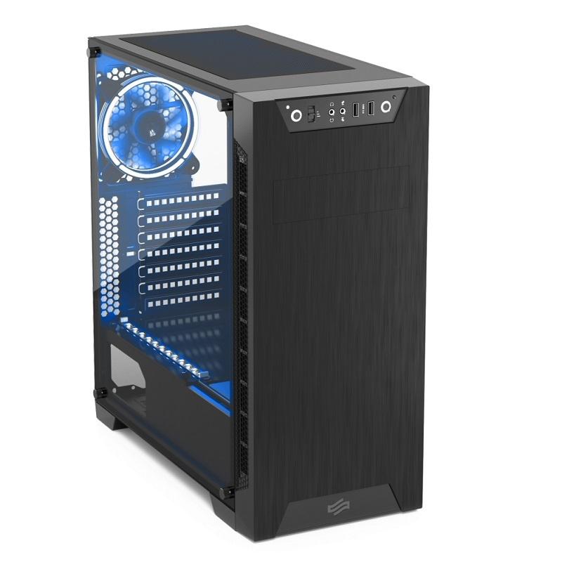 SilentiumPC skříň MidT Armis AR3 TG-RGB Pure Black / 2x USB 3.0 / 2x 120mm fan / bočnice z tvrzeného skla/ RGB / černá