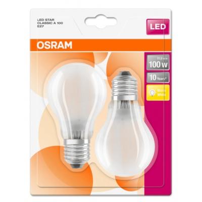 OSRAM LED STAR CL A GL Fros. 11W 827 E27 1521lm 2700K (CRI 80) 10000h A++ (Krabička 2ks)