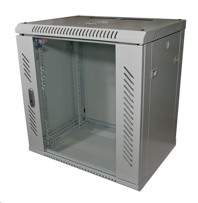 """LEXI 19"""" nástěnný rozvaděč 12U, šířka 600mm, hloubka 600mm, skleněné dveře, nosnost 60kg, svařovaná konstrukce, šedý"""