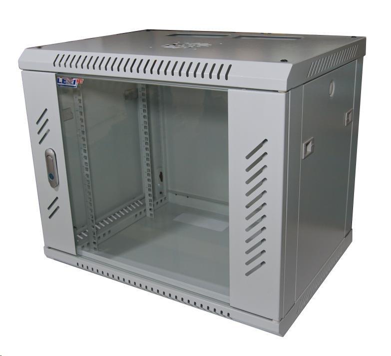 """LEXI 19"""" nástěnný rozvaděč 9U, šířka 600mm, hloubka 600mm, skleněné dveře, nosnost 60kg, svařovaná konstrukce, šedý"""