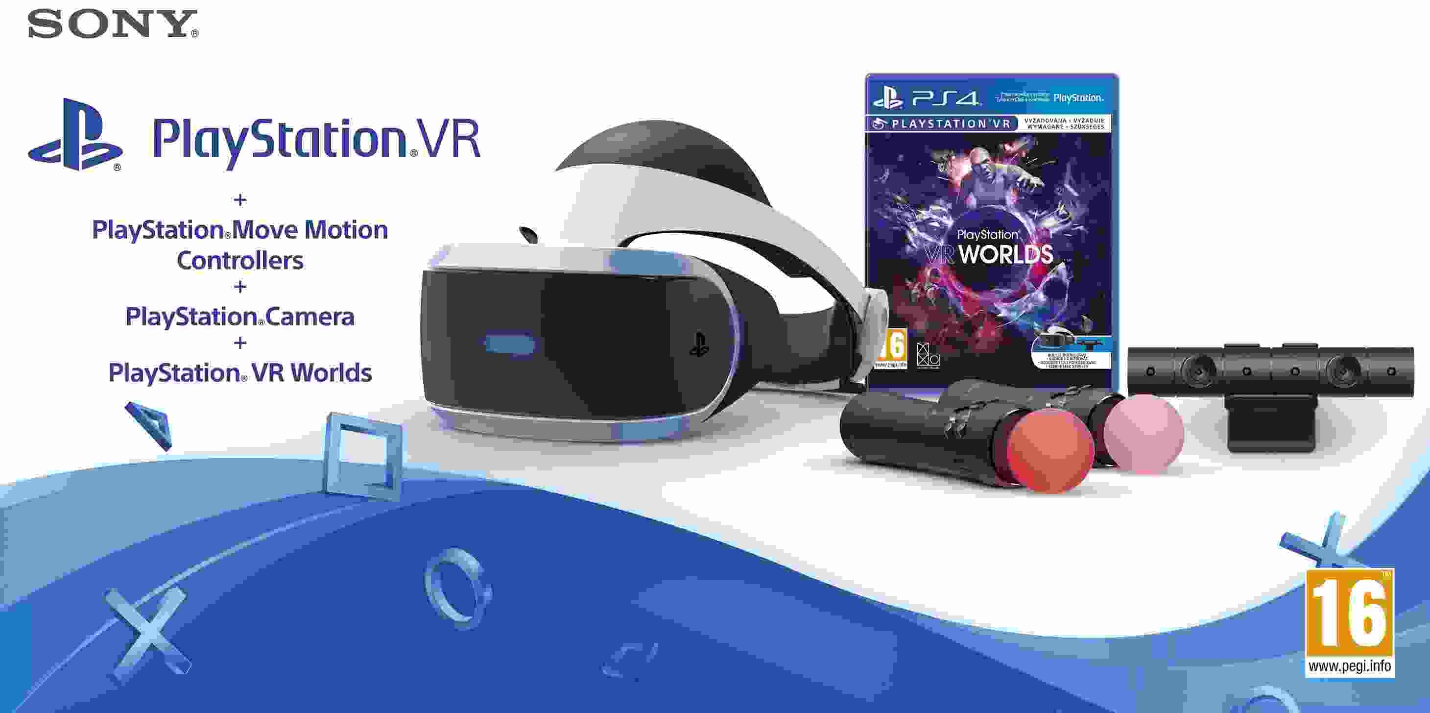 SONY PS4 VR headset + Kamera + MOVE Twin Pack + VR WORLDS